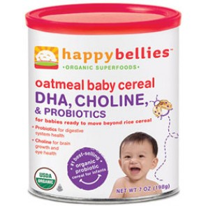 Happybellies, Oatmeal Baby Cereal, DHA, Choline, and Probiotics, 7 oz (198 g)